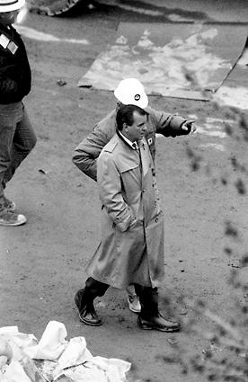 Chicago Mayor Richard M. Daley gets an update on repair work to the punctured freight tunnel underneath the floor of the Chicago River. It was Daley's third year as mayor of Chicago.