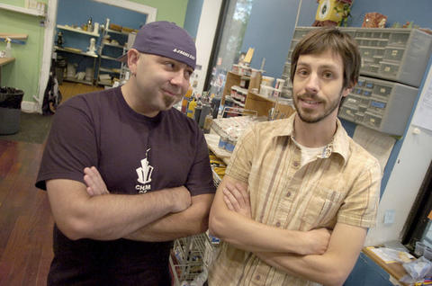The proprietor of Charm City Cakes, left, has a slacker, punk rock thing going on. Contrast a bald cap (or, gulp, actual shaved head) with a pointed, crawling soul patch that peaks just below the chin. A chef's jacket could help define the look, and cake samples will help make friends.