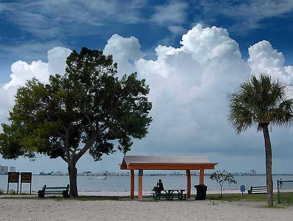 Although not on a barrier island, Gulfport has a beautiful beach and views of the water.