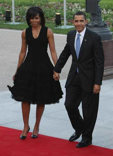 President Barack Obama and First Lady Michelle Obama arrive at the opening of the NATO summit at the Kurhaus on April 3, 2009 in Baden Baden, Germany.