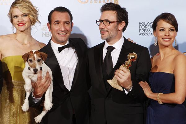 From left; Missi Pyle, Uggie the dog, Jean Dujardin, director Michel Hazanavicius and Berenice Bejo.