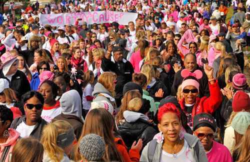 The crowd at the Susan G. Komen Race for the Cure in Hunt Valley.