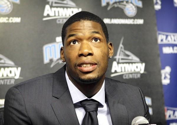2011 Orlando Magic draft pick DeAndre Liggins talks to the media during a press conference introducing the players on June 29, 2011.
