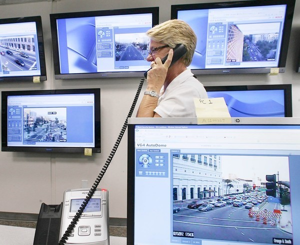Patty Little watches monitors at the city of Orlando traffic control center at City Hall on Wednesday.