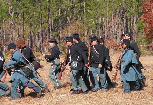 Union Army re-enactors practice maneuvers at the Olustee Battlefield Historic State Park on Feb. 17, 2007, during the annual re-enactment festival for the Battle of Olustee. (The park is east of Lake City in North Florida.)