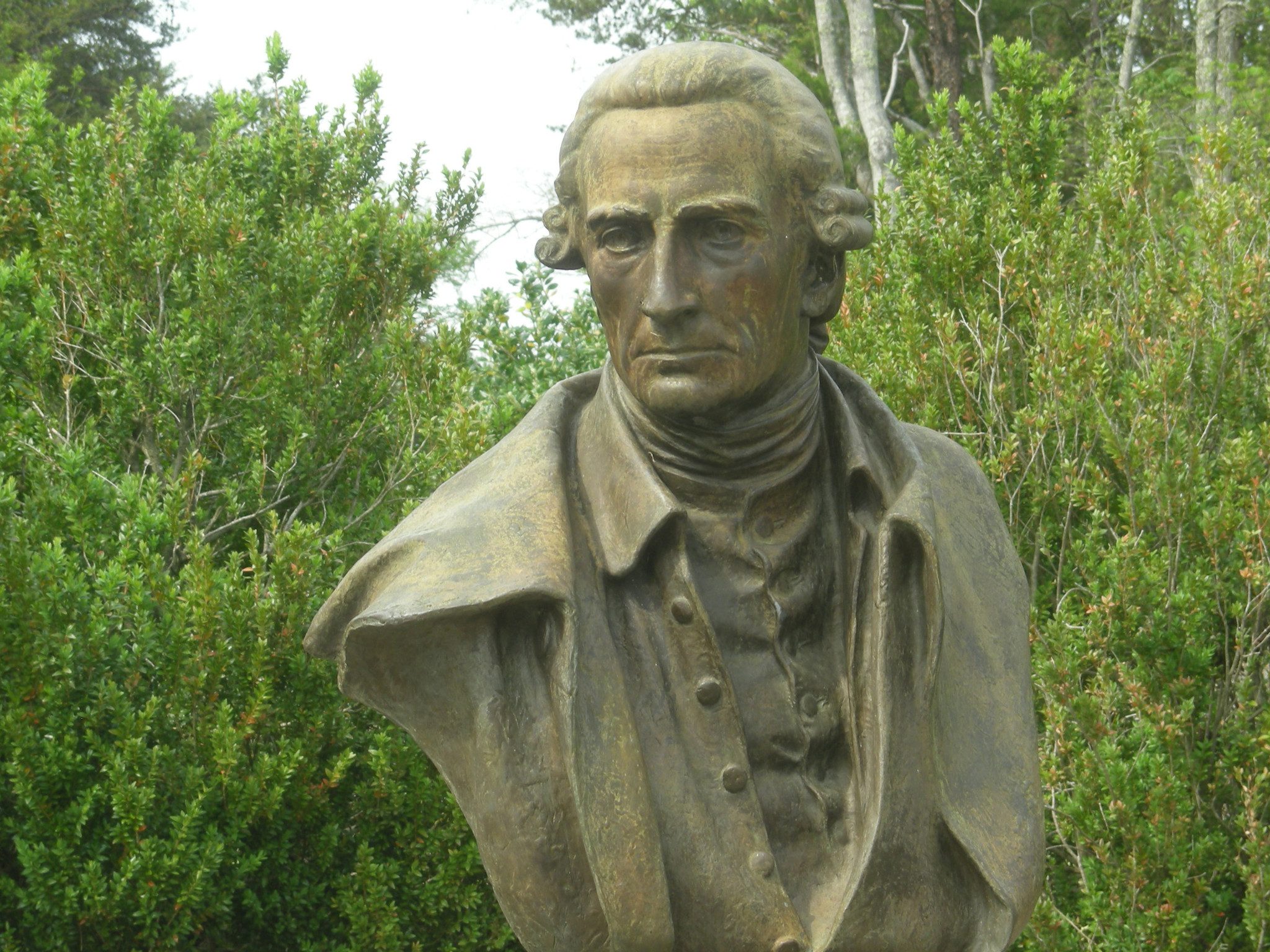 A bust of Patrick Henry, one of the most influential Virginia leaders advocating American independence at the Red Hill Patrick Henry National Memorial in Charotte County, Virginia.