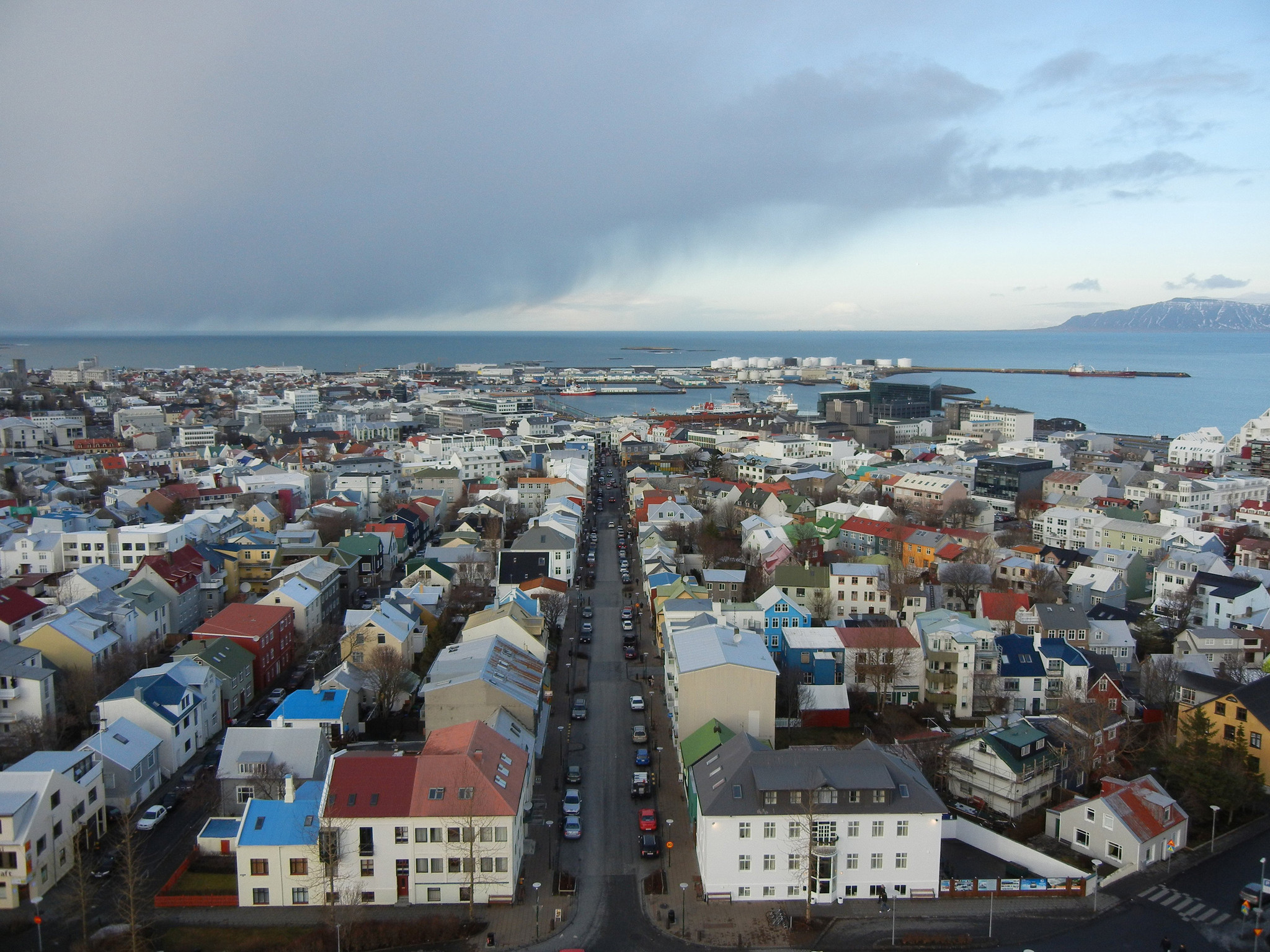 Reykjavik, Iceland, spreads out in this view from the tower of the Hallgrimskirkja church.