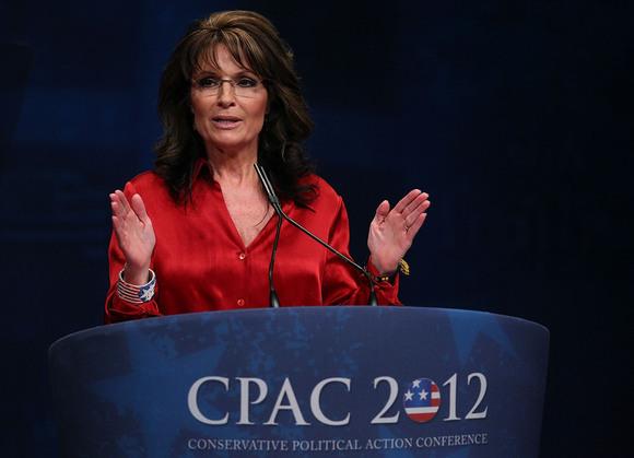 Former Alaska Gov. Sarah Palin addresses the Conservative Political Action Conference in Washington.