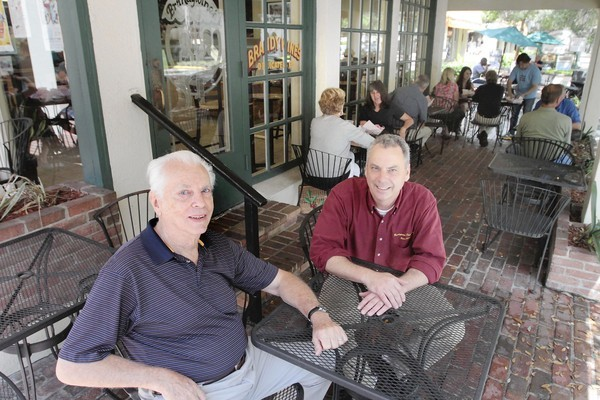 Owners Jack and Johnny Frankenburger sit outside Brandywine's in Winter Park.