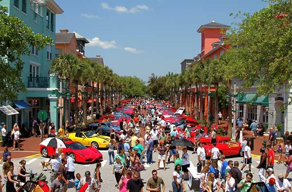 The Concours of Exotic Cars in downtown Celebration during the 2011 Celebration Exotic Car Festival.