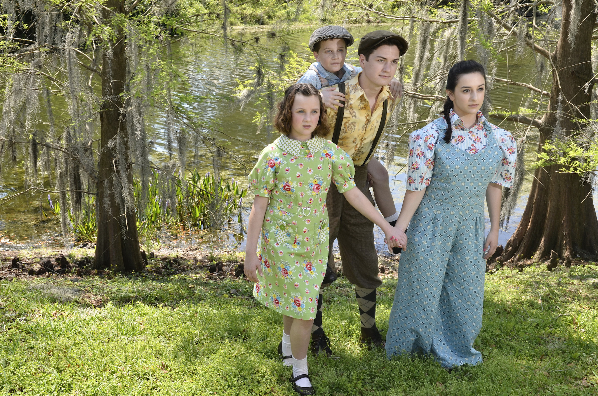 "Kristen E. Brock (from left), Lee Karlinsky, Alex Dyon and Chloe Robin are the young stars of Orlando Repertory Theatre's ""The Boxcar Children."""