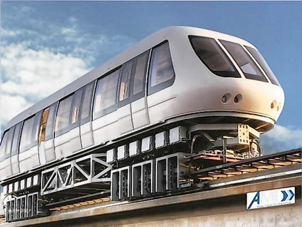 Magnetically levitated train on American Maglev Technology Inc. test track in Powder Springs, Ga.
