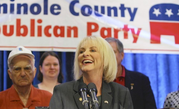 Sandy Adams gives her acceptance speech during a big GOP celebration at the downtown Orlando Sheraton on Tuesday, November 2, 2010.