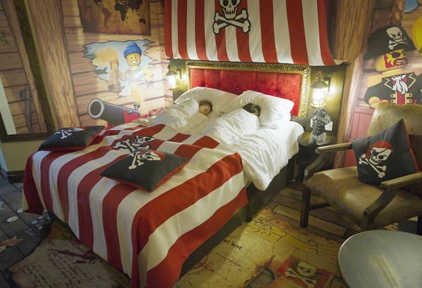 A photo distributed by Legoland in Windsor, England, shows a pirate themed hotel room.