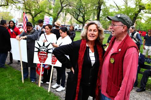 Bill Ayers, right, and Bernardine Dohrn, join May Day protesters at Union Park at 1501 W. Randolph St. in Chicago.