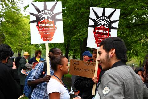 May Day protesters gather at Union Park at 1501 W. Randolph St. in Chicago.