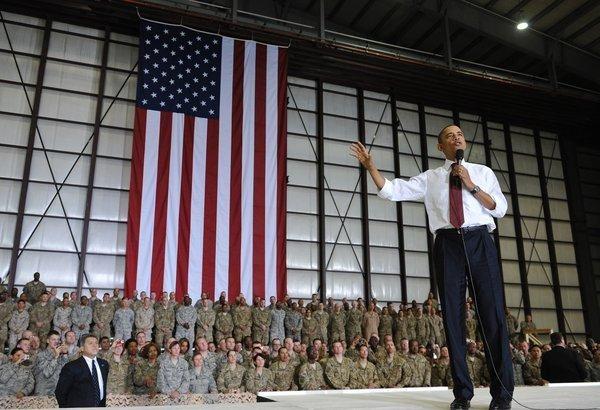 President Obama speaks to troops during a surprise visit to Bagram air base in Afghanistan.