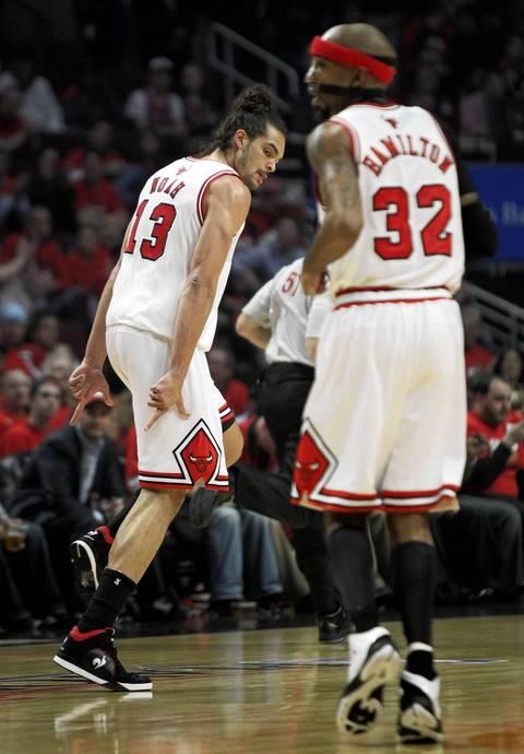 Chicago Bulls center Joakim Noah (13) celebrates a basket against the Philadelphia 76ers in the first quarter.
