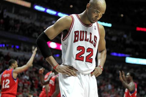 Chicago Bulls forward Taj Gibson (22) walks off the court after committing a foul against the Philadelphia 76ers during the 4th quarter.