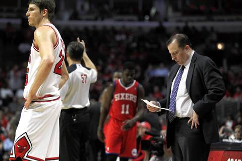 Chicago Bulls head coach Tom Thibodeau stands on the court during a 4th quarter timeout.