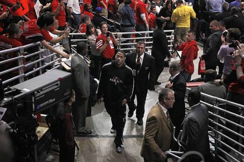 Chicago Bulls point guard Derrick Rose heads out the tunnel after delivering the game ball before Game 2 against the Philadelphia 76ers.