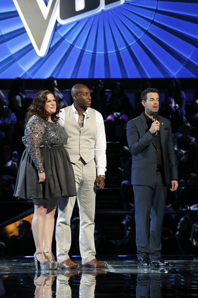 "L-R: Erin Willet, Jermaine Paul, Carson Daly on ""The Voice."""