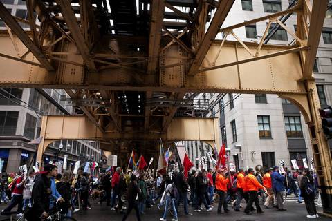 Occupy Chicago and other demonstrators head to Federal Plaza.