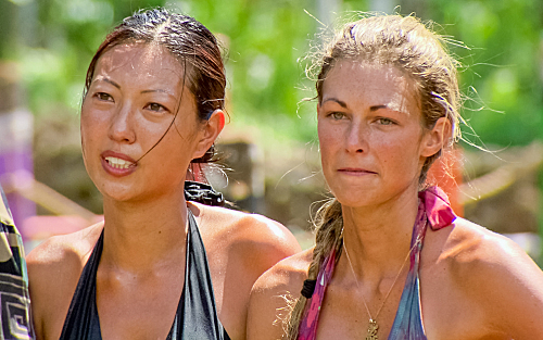 "Christina Cha and Chelsea Meissner of the Tikiano tribe during episode 12 of ""Survivor: One World."""