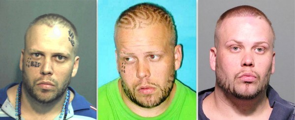 Jesse Davis, in three mug shots.