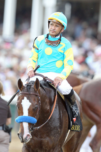 Mike Smith looks on atop Bodemeister after finishing second in the 138th running of the Kentucky Derby.