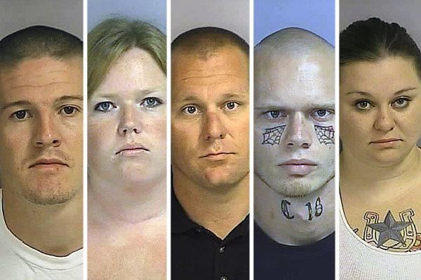 From left to right: Paul Jackson, Jennifer McGowan, Mark McGowan, Kent McLellan and Diane Stevens were arrested on hate crime charges in Osceola County, records show.