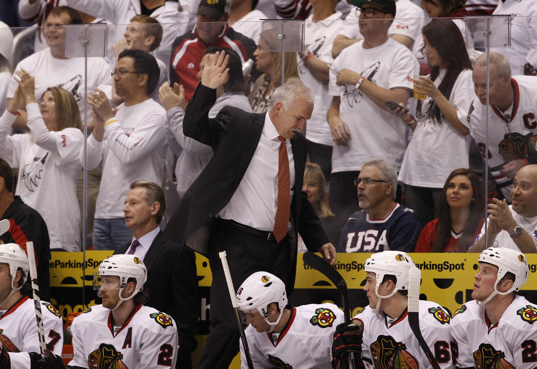 Blackhawks coach Joel Quenneville reacts after the Coyotes tied the game.