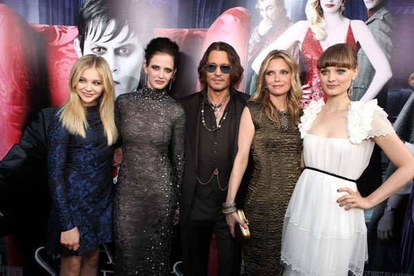 Chloe Grace Moretz, Eva Green, Johnny Depp, Michelle Pfeiffer and Bella Heathcote arrive at Warner Bros.' Los Angeles Premiere of 'Dark Shadows' at Grauman's Chinese Theatre on May 7, 2012 in Hollywood.