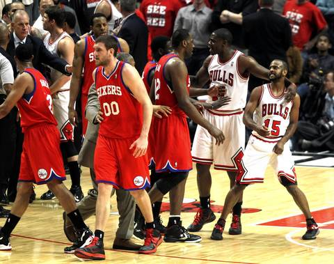 Chicago Bulls point guard John Lucas reacts after a scuffle between the Bulls and the Philadelphia 76ers in the second quarter at the United Center.