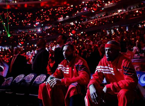 Chicago Bulls power forward Carlos Boozer and Richard Hamilton get set to take the floor as the team is introduced before playing the Philadelphia 76ers in Game 5 of an Eastern Conference first-round playoff series.