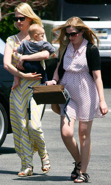 January Jones, left, with son Xander.