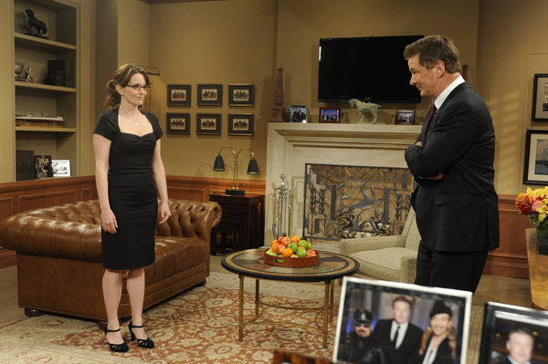 "Tina Fey as Liz Lemon and Alec Baldwin as Jack Donaghy on ""30 Rock."""