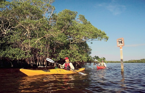 Kayaking the Great Calusa Blueway is one of the diversions available at the beaches of Fort Myers and Sanibel in Southwest Florida.