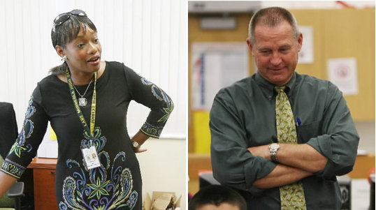 Lake Minneola High Principal Linda Shepherd-Miller and her husband, Leesburg High Principal Bill Miller, preside over schools with very different student populations. (Photos by Tom Benitez/Orlando Sentinel file)