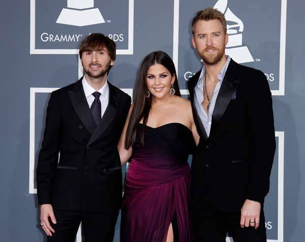 Lady Antebellum arrive at the 54th annual Grammy Awards in Los Angeles, Calif.