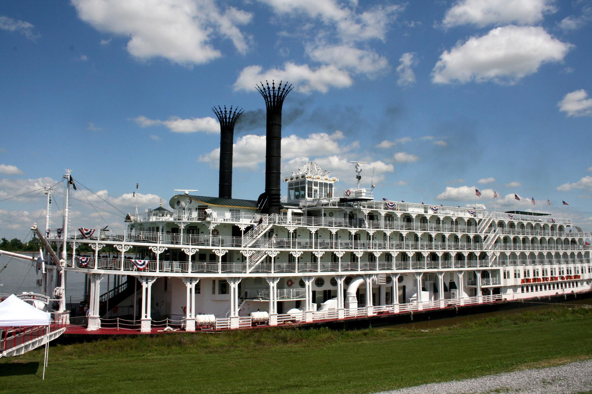 The American Queen docked in Vacherie, Louisiana.