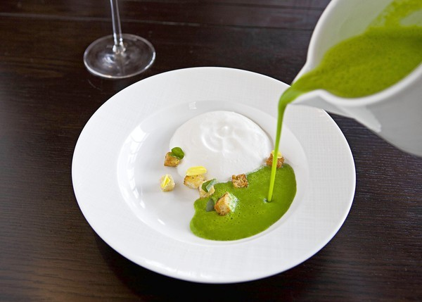 J & G Grill's spring pea soup with Parmesan foam and sourdough croutons