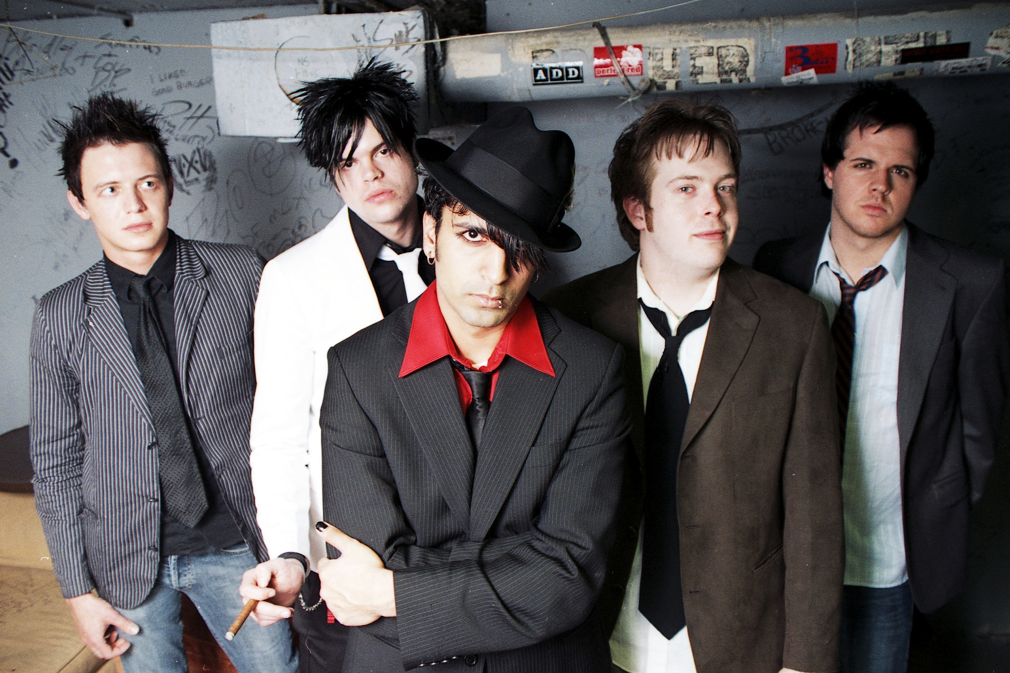 A 2005 photo of Lucky Boys Confusion, showing Joe Sell second from right.