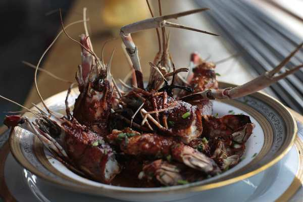One of the ritzier dishes on the menu is a plate of barbecue langoustines.