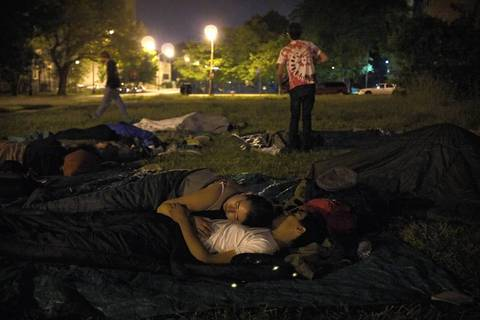 Occupy protesters sleep outside of the Woodlawn Mental Health Clinic as The Mental Health Movement and Occupy Chicago collaborated to protest closures of mental health facilities by the City of Chicago.