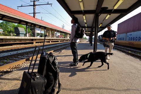 """Ashaun Thomas, 19, is sniffed by an Amtrak police dog before boarding the """"City Of New Orleans"""" that will be stopping in Homewood on Saturday morning."""