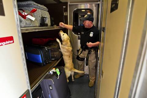 """Amtrak Police officer Robert McPartland, with dog """"Dixie,"""" conducts a security sweep on the Amtrak train """"City Of New Orleans,"""" at the Homewood station."""