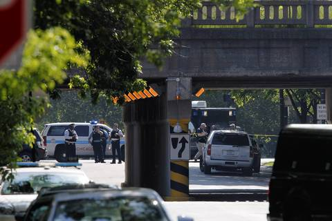Police investigate a suspicious package in the area of East 56th Street. Trains were stopped for an hour and a half on the Metra Electric District line on the South Side during the investigation. The suspicious package turned out to be an empty suitcase, authorities said.