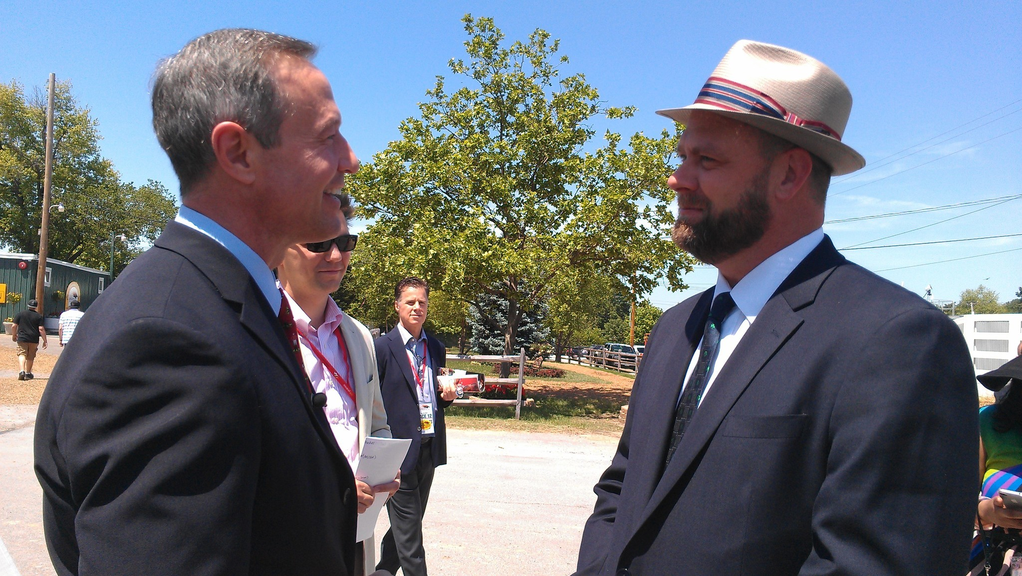 "Gov. Martin O'Malley meets with ""I'll Have Another"" trainer Doug O'Neill of Santa Monica, Calif."