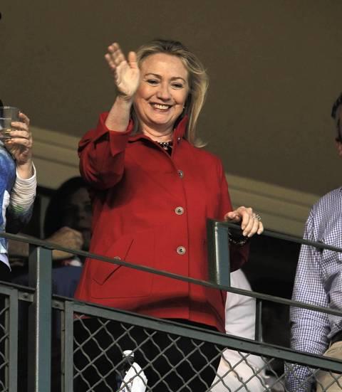 U. S. Secretary of State Hillary Clinton in a sky box.